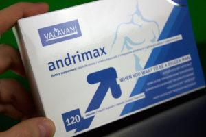 Balení pilulek na erekci Andrimax z předu