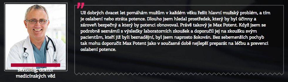Max Potent - účinky a imaginární lékař